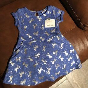 Gymboree blue dress with silver unicorn detail.